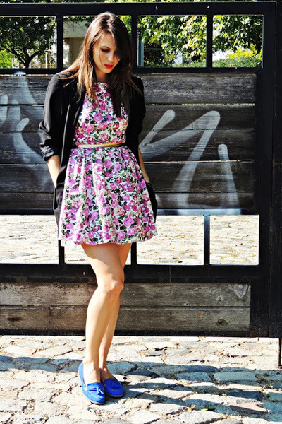 blue unknown shoes - pink F&F dress - black Street One blazer