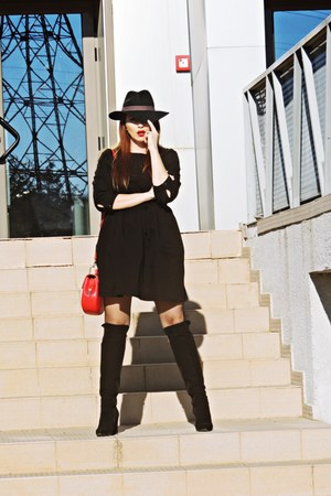 black nissa boots - black asos dress - black c&a hat
