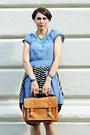 Blue-h-m-dress-brown-new-yorker-bag-blue-h-m-flats