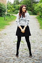 heather gray Adid hoodie - black Topshop skirt