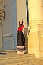 H&M hat - polka dots River Island dress - ruby red Stradivarius shirt