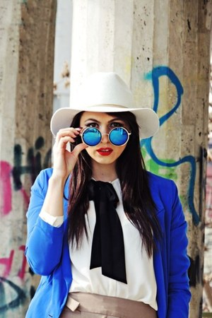 white H&M hat - blue Bershka blazer - blue Freyrs sunglasses - tan Zara pants