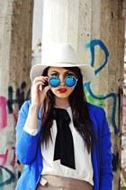 white H&M hat - blue Bershka blazer - blue Freyrs sunglasses - tan Zara pants