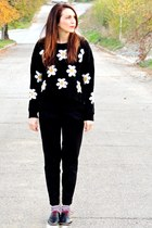black chicnova sweater - black Zara pants - black Zara flats