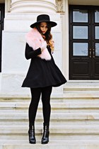 black Zara dress - light pink faux fur collar pull&bear accessories