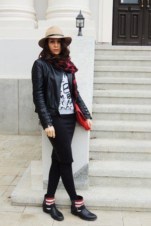 black Benvenuti boots - black leather Mango jacket