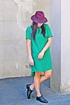 black Zara shoes - green Front Row Shop dress - maroon Pimkie hat