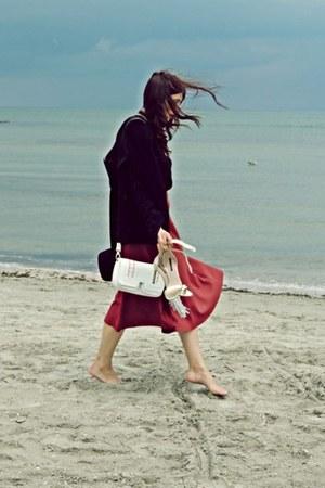 black Zara blazer - ruby red Zara skirt