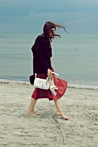 Black-zara-blazer-ruby-red-zara-skirt