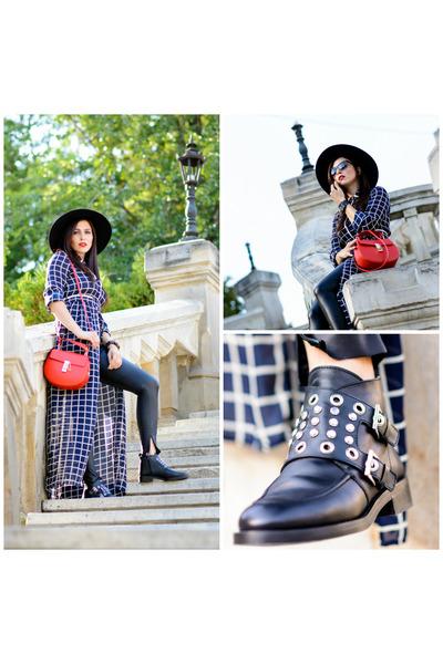 black Zara boots - navy asos dress