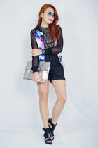blue cosmic print Nava jacket - charcoal gray sequined Nava top