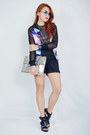 Blue-cosmic-print-nava-jacket-black-buckled-charles-and-keith-heels