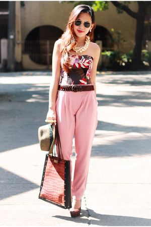 brick red corset Nava top - bubble gum vintage cut bangkok pants