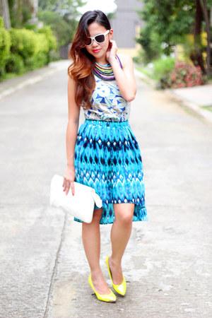blue hi-lo H&M skirt - navy bib H&M accessories - silver halter Rio top