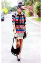 beige dotted Nava blouse - black faux leather Nava heels - navy stripes Nava top