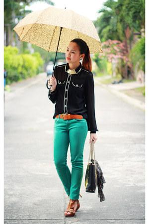 teal colored Zara pants - camel genuine leather Nava bag