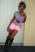 pink shorts - gray top