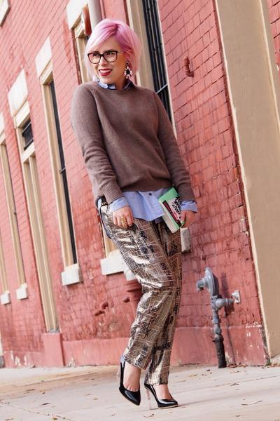 Jcrew earrings - H&M sweater - Jcrew blouse - Isabel Marant pants