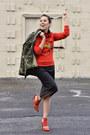 Carrot-orange-bcbgeneration-shoes-topshop-jacket-black-zara-skirt