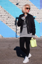 Topshop jacket - bcbg max azria bag - Topshop socks - Oakley sunglasses