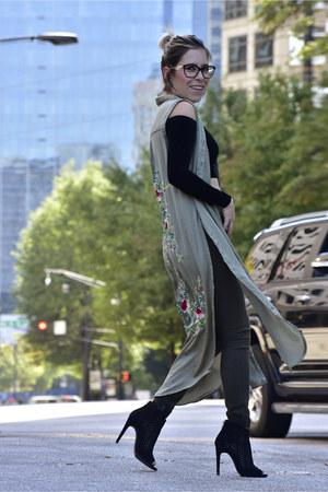 black crop top American Apparel top - tunic Zara top - Forever 21 boots