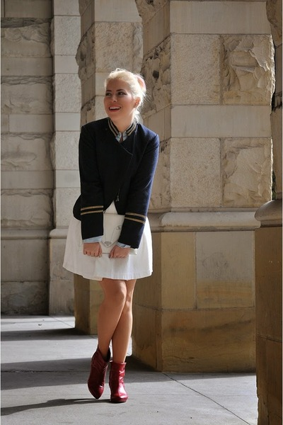 white Forever 21 skirt - ruby red Miss Sixty boots - navy H&M blazer