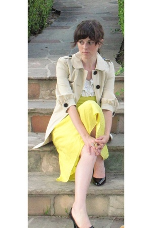 banana republic coat - Jcrew dress - Mango top - payless shoes