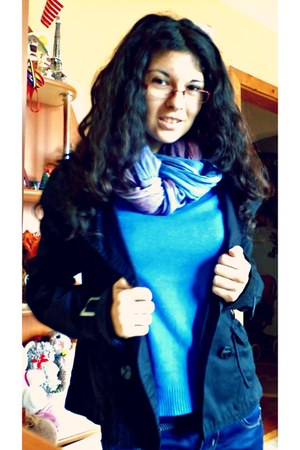 unknown scarf - unknown jeans - black m Stradivarius jacket - blue s Zara blouse
