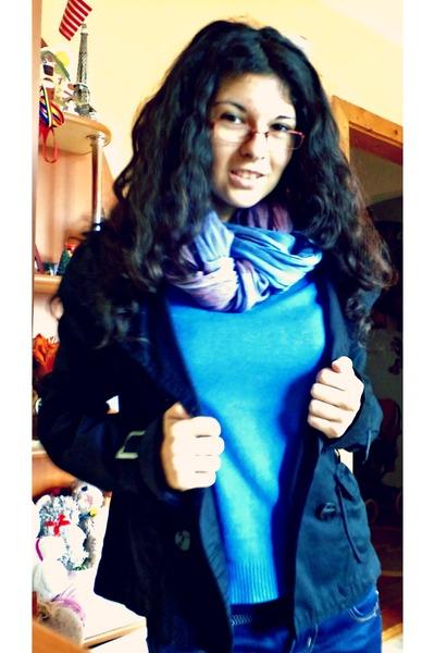 unknown scarf - unknown jeans - black m Stradivarius jacket - blue s Zara blouse
