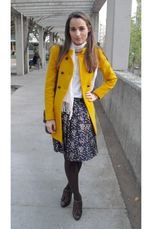 mustard Zara coat - Wolford tights - See by Chloe bag - Aldo wedges