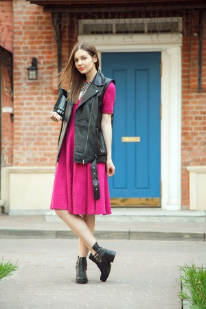 black Zara boots - hot pink Zara dress - black Zara vest