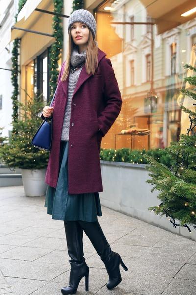 magenta asos coat - black gianmarco lorenzi boots - silver Zara sweater