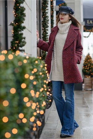 brick red Zara coat - navy Zara jeans - off white H&M sweater
