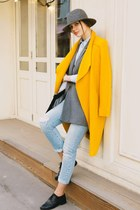 gold Zara coat - light blue Zara jeans - charcoal gray H&M jacket
