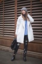 Zara jeans - white Sisley coat - Zara sweater - H&M bag