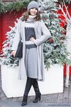 silver Zara dress - black gianmarco lorenzi boots - silver asos coat