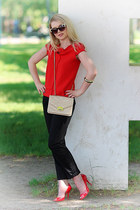 Topshop sunglasses - Mango pants - Casadei heels - Zara top