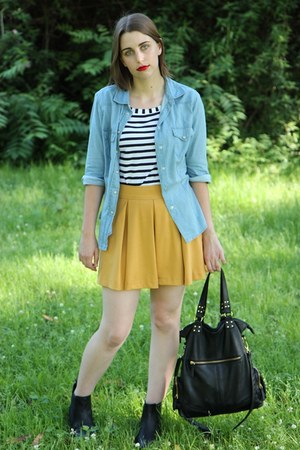 black chelsea boots asos boots - periwinkle denim shirt Zara shirt