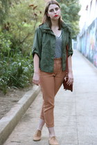 tan tan brogues Topshop flats - green Urban Outfitters jacket - tawny asos bag