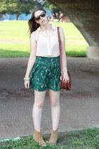 Urban Outfitters skirt - asos boots - Topshop shirt - saddle bag asos bag