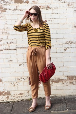 tan asos pants - red Gap bag - dark brown perfect day Karen Walker sunglasses