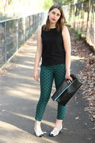 teal Topshop pants - black American Apparel bag - black Topshop top
