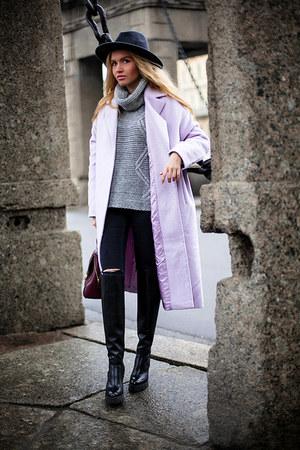 asos coat - periwinkle bag