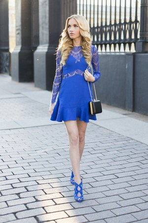 blue Sheinside dress - Zara shoes