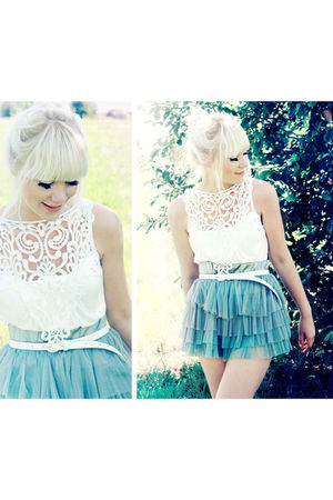 white Lace blouse NewYorker blouse - blue tutu skirt H&amp;M skirt
