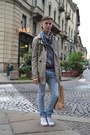 Sky-blue-frav-jeans-beige-jacket-heather-gray-h-m-shirt