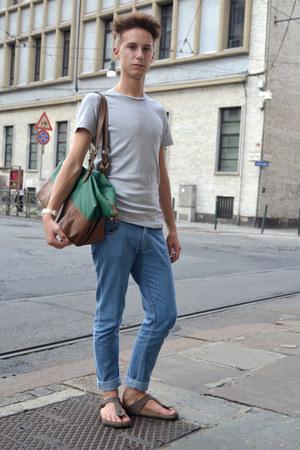 teal Zara bag - blue FRAV jeans - light brown Birkenstock sandals