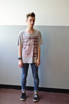 blue H&M jeans - periwinkle H&M t-shirt - dark gray Vans sneakers