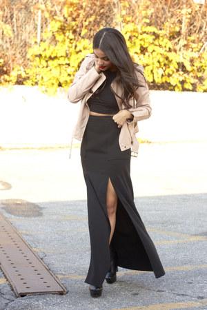 nectar clothing jacket - black crop top American Apparel top - BCBG skirt