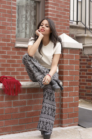 leather top Macys top - fringe bag Threadscence bag - bell bottoms Lulus pants